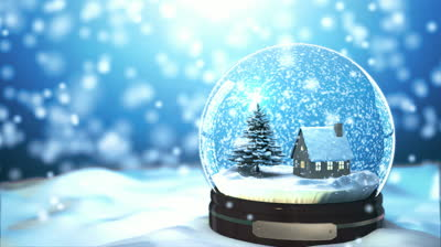 stock-footage-loop-able-christmas-snow-globe-snowflake-with-snowfall-on-blue-background